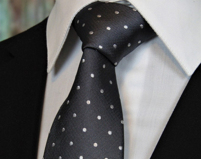 Silk Ties for Men – Mens Dark Gray with White Dots Silk Necktie.