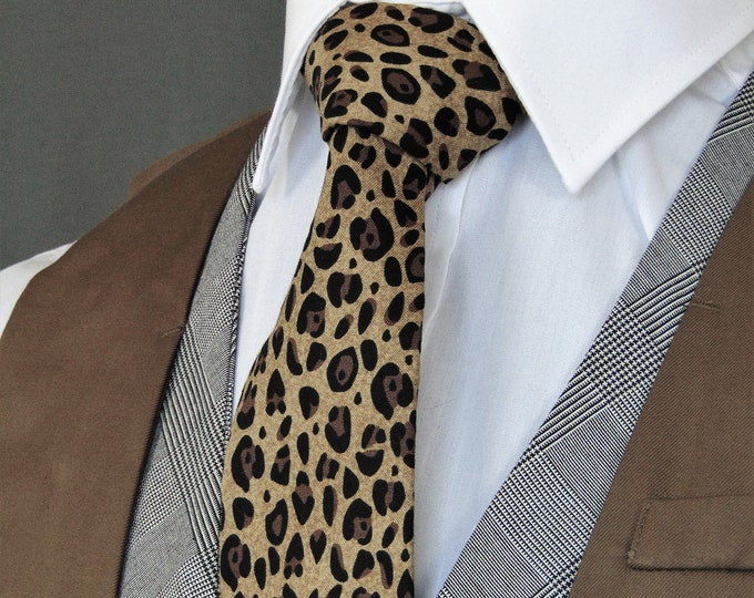 Leopard Tie – Animal Print Neckties Available as a Extra Long Necktie and Skinny Tie