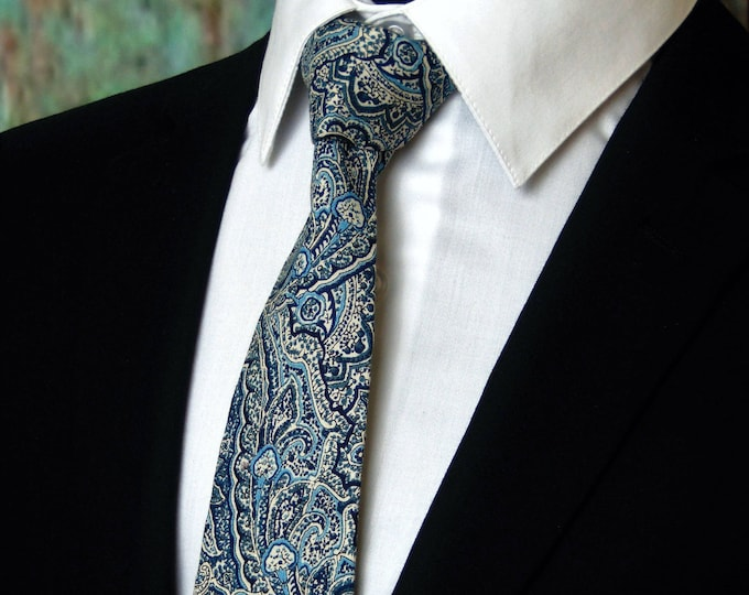 Blue Paisley Tie – The Perfect Blue Paisley Neck Tie for Wedding and Available  as a Skinny Tie.