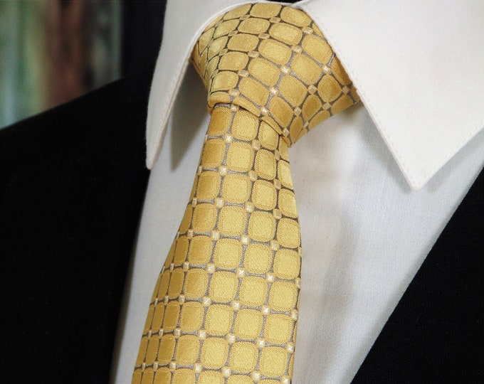 Gold Tie – Mens 100% Silk Gold Necktie