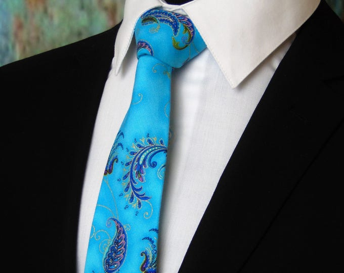 Blue Floral Tie – Blue Floral Tie for Men also Available as a Skinny Tie and Makes a Great Wedding Necktie.