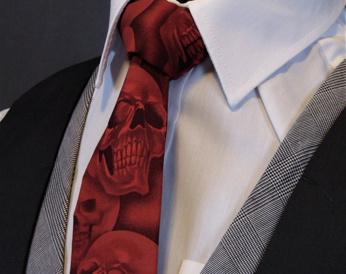 Red Skull Tie – Necktie with Red Sulls