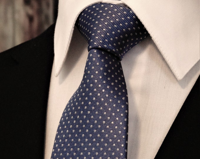 Blue Polka Dot Tie – Mens Dusty Blue Polka Dot Necktie