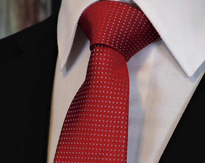 Red Silk Necktie – Mens 100% Silk Tie with Red and Silver