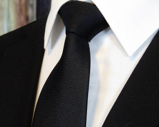 Black Tie – Mens 100% Silk Classic Black Necktie