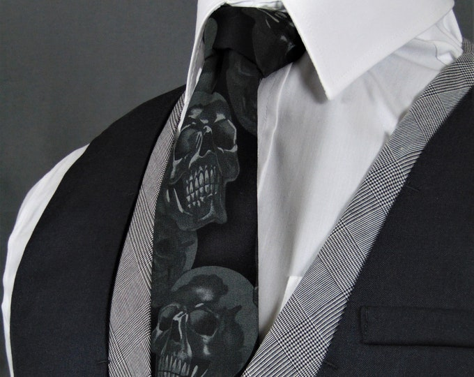 Skull Tie – Cotton Black on Charcoal Skull Necktie. Availableas a Extra Long Tie.