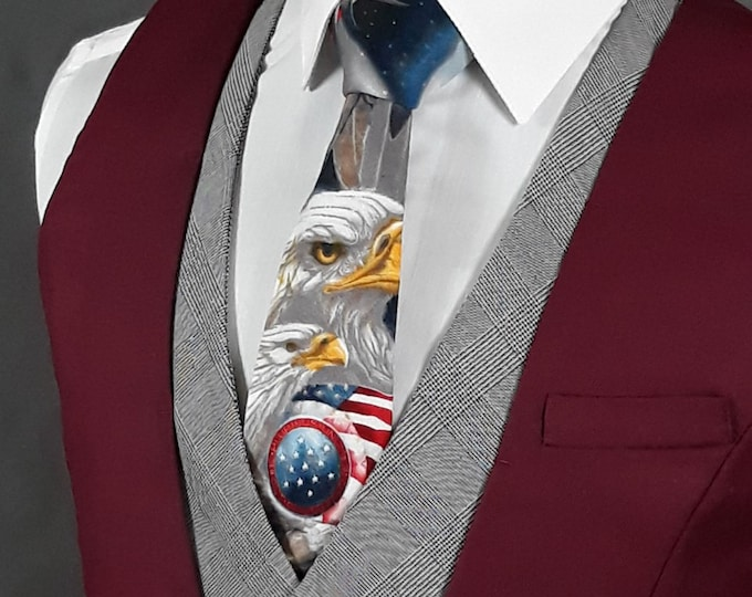 Independence Day Ties – Mens Bald Eagle 4th of July Necktie