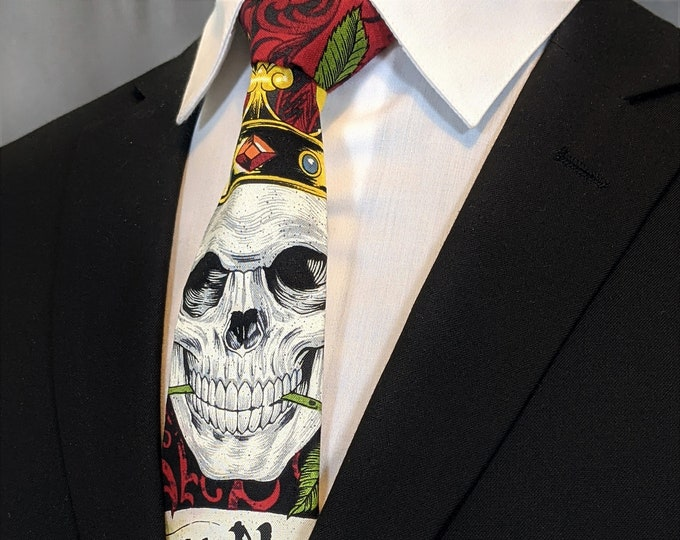 Mens Gothic Skull Neck Tie – Colorful Skull Mens Necktie