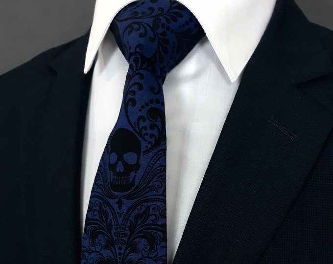 Royal Blue Skull Tie – Gothic Wedding Blue Skull Neckties