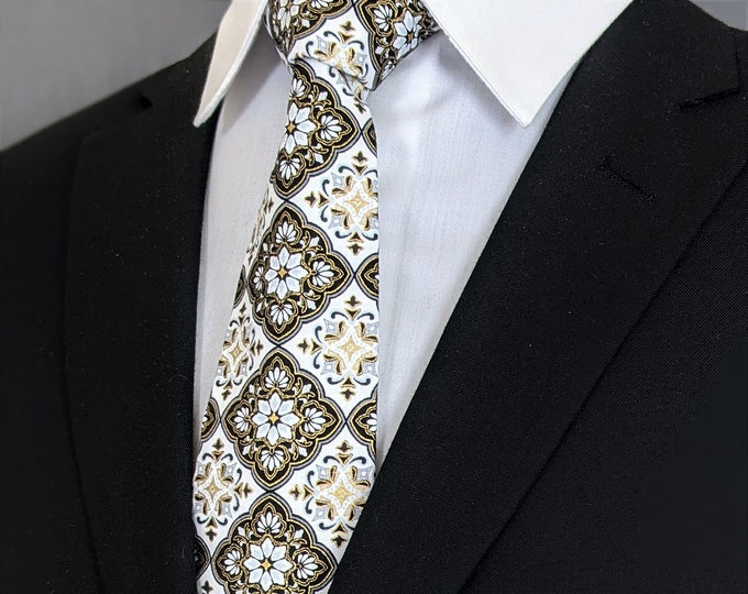 Weddings – Ties for Weddings, Mens White and Black Neck Tie, Also available as a Skinny Tie and a Extra Long Tie