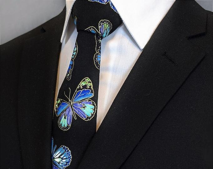 Butterfly Necktie – Mens Black with Blue Butterfly Tie