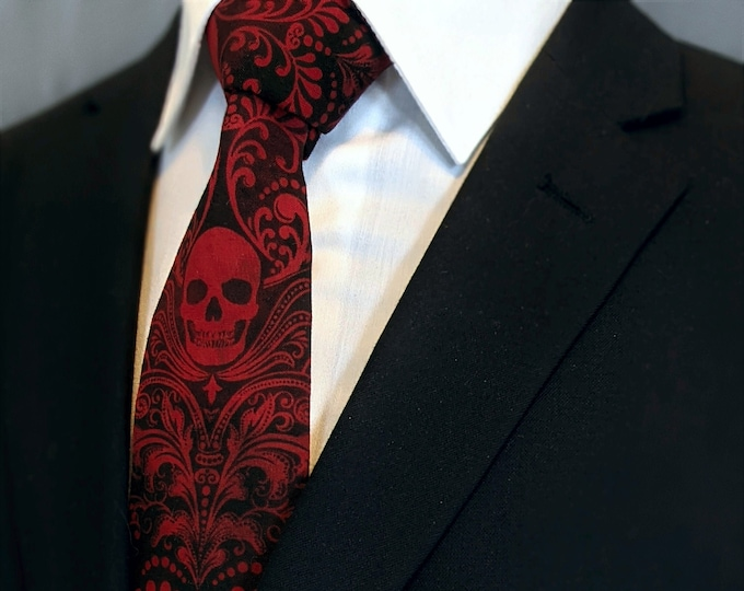 Red Skull Necktie – Mens Red Skull Tie Available as a Extra Long and and a Skinny Necktie