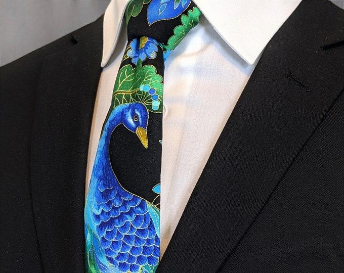 Peacock Necktie – Mens Floral Tie / Peacock with colorful Floral Motif, Alos Makes a Great Wedding Tie.