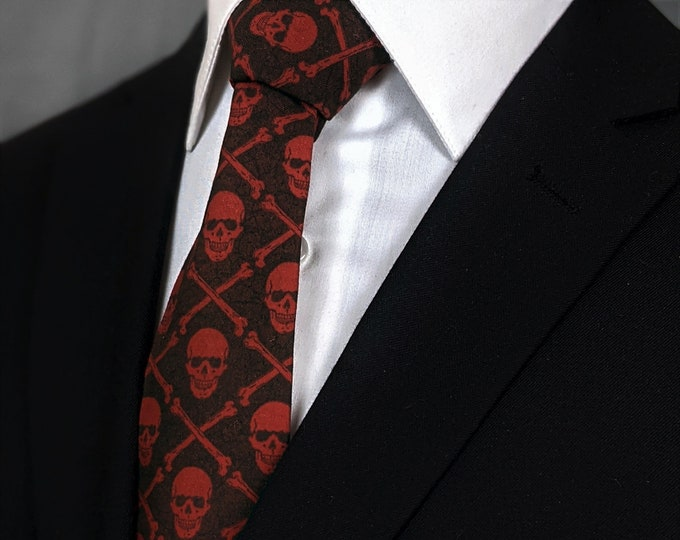 Gothic Red Skull Necktie – Mens Goth Skull Tie Available as a Extra Long and and a Skinny Necktie