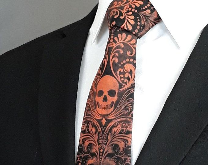 Orange Skull Neck Tie – Mens Black with Orange Skull Tie.