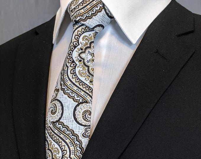 Mens Necktie, Mens Tie, Grey Necktie, Grey Tie, Black Necktie, Black Tie, Gold Necktie, Gold Tie, Paisley Necktie, Paisley Tie, Floral Tie