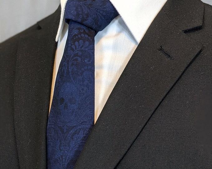 Deep Royal Blue Skull Tie – Gothic Wedding Blue Skull Neckties