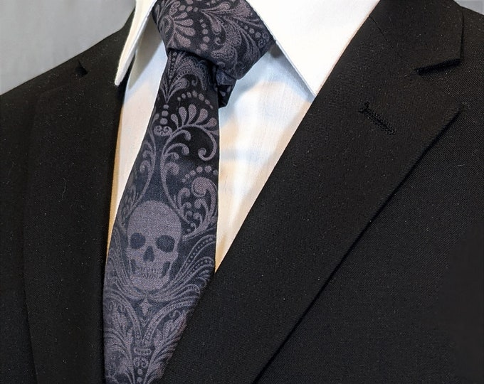 Charcoal and Grey Skull Tie – Gothic Wedding Necktie. Necktie only Pocket Square not included.