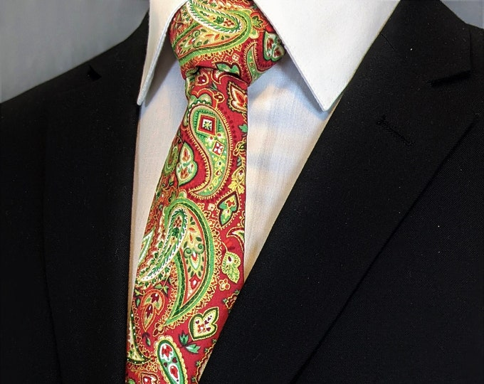 Christmas Tie Paisley – Mens Christmas Necktie, Available as a Skinny Tie and a Extra Long Tie