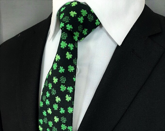 St Patricks Day Tie – Mens Green and Black St Patricks Day Necktie.