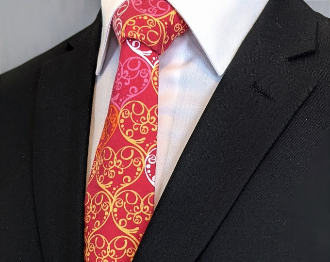 Valentines Day Gift – Mens Pink with Yellow White and Light Pink  Hearts Necktie, Also Available as a Skinny Tie.