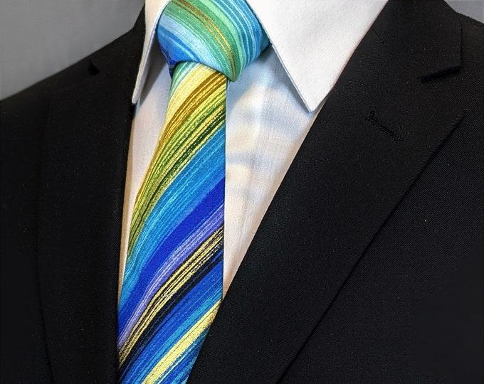 Colorful Stripe Necktie – Men's Stripe Metallic Ties