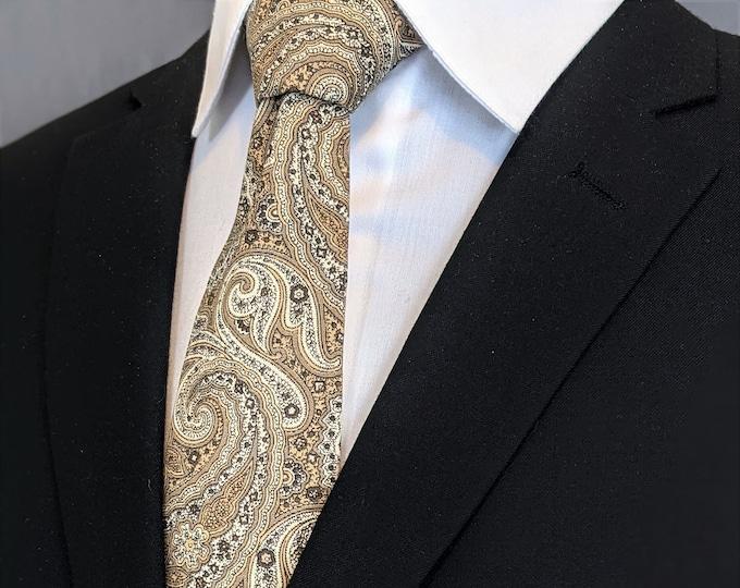 Mens Necktie, Mens Tie, Paisley Necktie, Paisley Tie, Floral, Wedding, Brown, Tan, Fathers Day, Birthday, Gift, Christmas, Dad, Skinny Tie