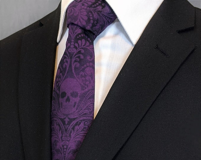 Plum Skull Tie, Ties With Skulls, Goth Wedding