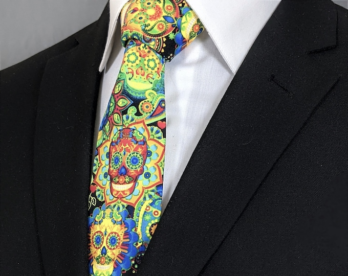 Day of the Dead Sugar Skull Necktie – Halloween Neck Tie for Men