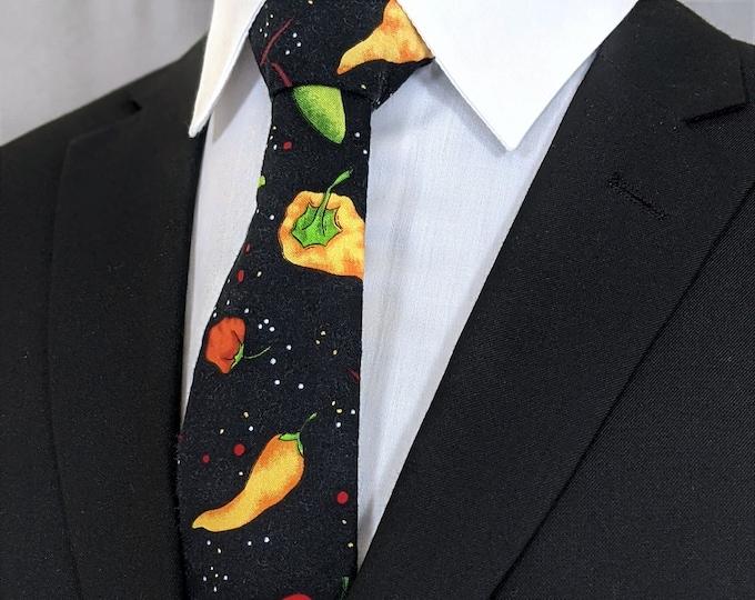 Pepper Necktie – Cinco De Mayo Ties, Mens Mexican Cinco de Mayo Necktie, Available as a Skinny Tie and a Extra Long Tie