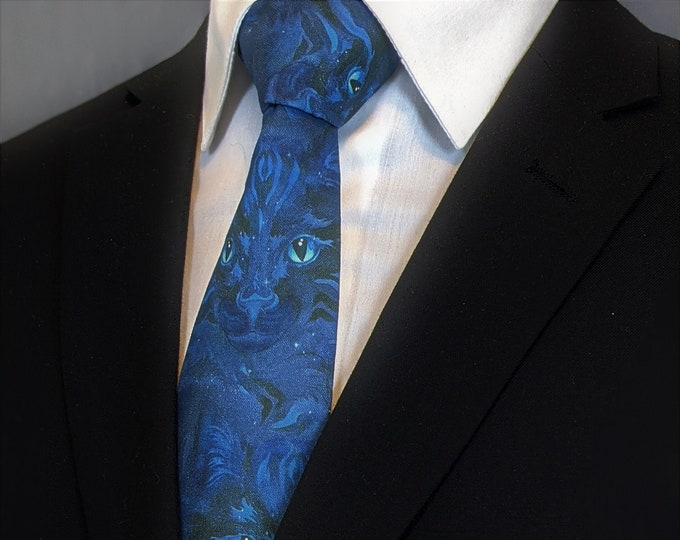 Cat Lover Tie – Blue Cat Necktie, Perfect gift for the cat lover in your life.