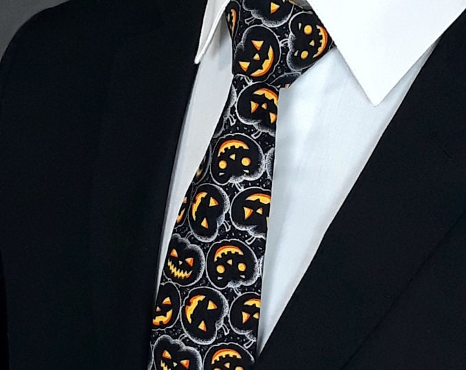 Pumpkin Neck Tie – Mens Halloween Ties, Pumpkin Themed Halloween Necktie