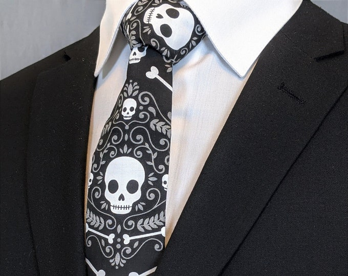 Black with White Skull Neck Tie – Gothic Wedding Tie for Men