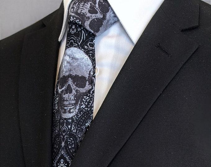 Gothic Skull Necktie – Mens Black, Gray and white Goth Skull Tie