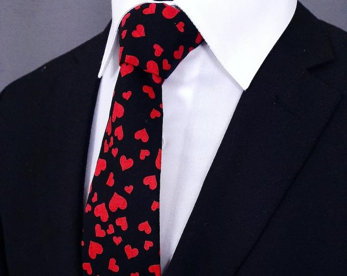 Valentines Neck Tie – Mens Blkack with Red Hearts Valentines Day Necktie