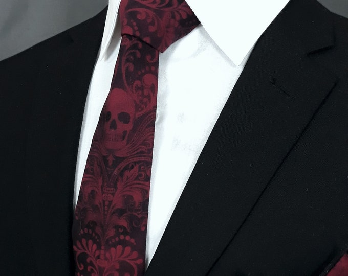 Skull Neck Tie – Wine Red and Black Skull Ties, Please read item description.. Pocket Square not included!