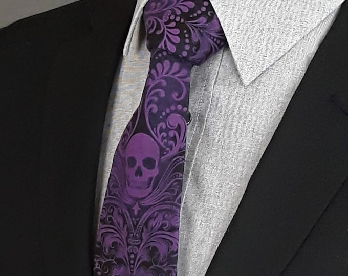 Purple Skull Neck Tie – Skull Tie Purple, Please read item description..