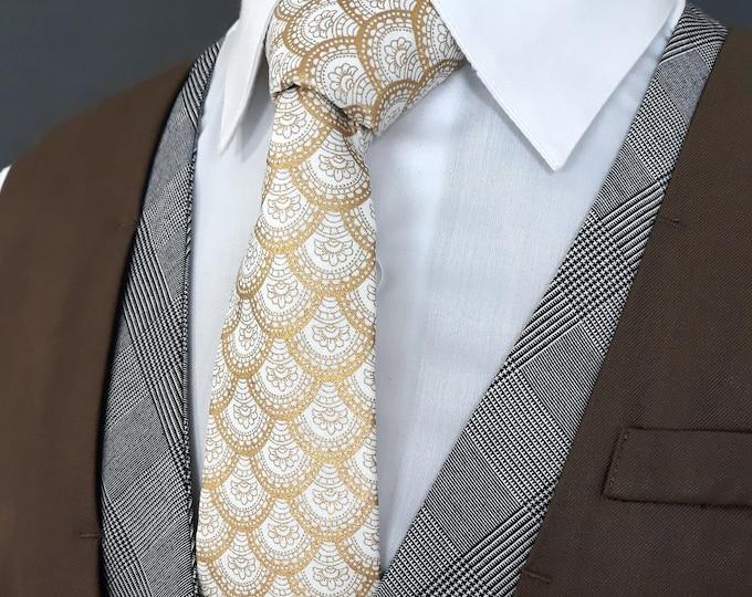 Gold and Cream Necktie – Mens Metallic Scallop Tie