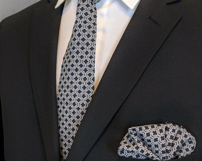 Tie and Pocket Square Combo – Black and White Necktie with Pocket Square. Only One Left