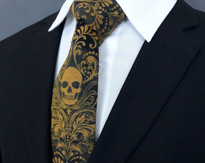 Gold Skull Tie, Black with Gold Skulls Necktie.