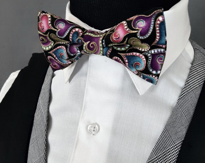 Bowties for Valentines Day – Black with Hearts Bow Tie.