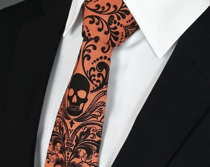 Orange Black Skull Tie – Mens Necktie with Black Skull Tie Motif, Makes a Great Halloween Neck Tie Also Available as a Skinny Tie.