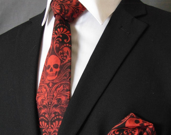 Skull Neck Tie – Red and Black Skull Ties, Please read item description.. Pocket Square not included!