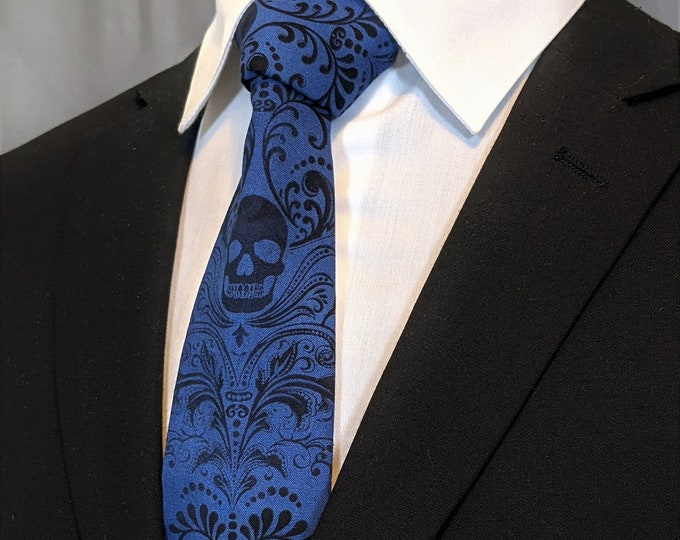 Royal Blue Skull Tie – Fabric is faded to give an aged looked. Please read Item description for more details!