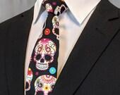 Sugar Skull Tie – Colorful Cotton Sugar Skull Mens Necktie, Great Halloween Tie!
