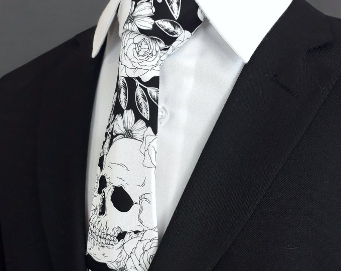 Black and White Skull Tie – Ties for Teens