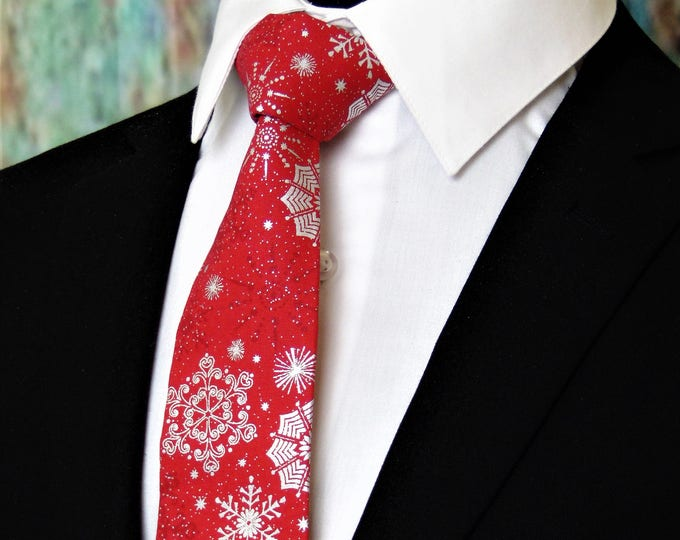 Red Christmas Tie – Mens Red and Silver Snowflake Necktie, Also available as a Skinny Tie.