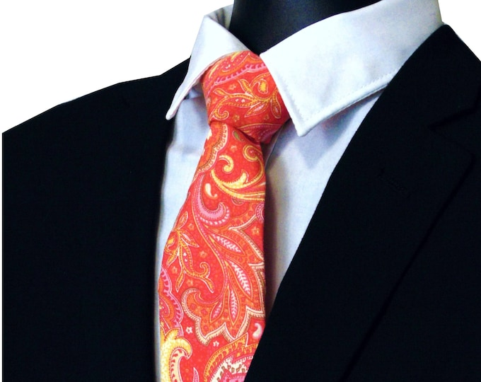 Paisley Necktie, Paisley Tie, Mens Necktie, Mens Tie, Floral Tie, Christmas, Red, Pink, Orange, Wedding, Birthday, Fathers Day, Gift, Dad