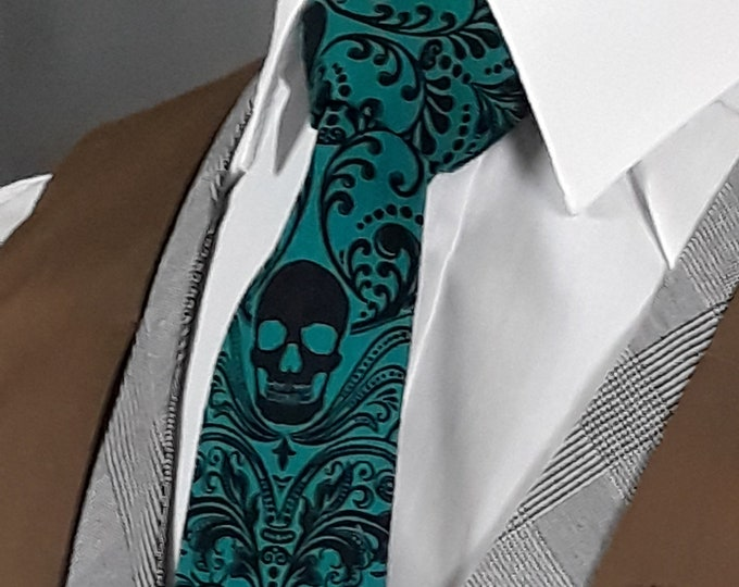 Green Skull Tie, Mens Green Necktie, Ties for Weddings