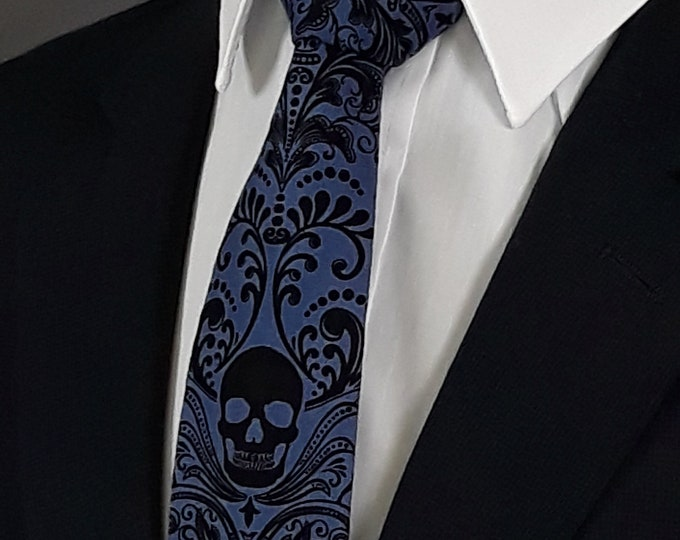 Gift for Men, Blue Skull Ties, Ties with Skulls